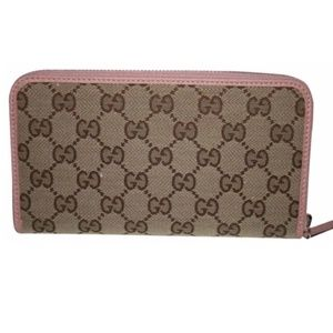 Gucci Pink GG Beige Logo Canvas Leather Wallet
